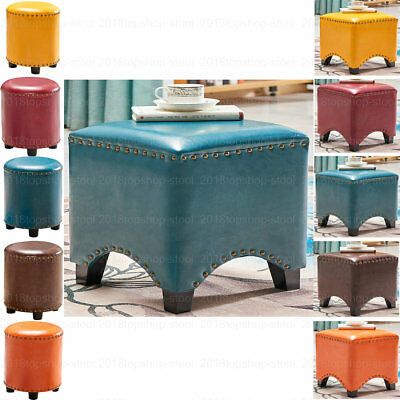 Large Faux Leather Ottoman Pouffe Footstool Dressing Table Makeup Stool Chair