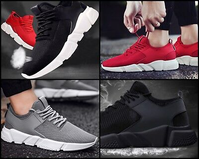 Mens Fashion Running Gym Sports Fitness Flat Trainers Lace Up Shoes Size