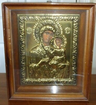Russian Icon Of The Kazanskaya Mother Of God Gold Color Metal In Glass Wood Case