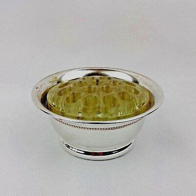 Vintage Falstaff Silver Plated Rose Bowl with Glass Frog