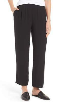 Nwt Eileen Fisher Black Georgette Silk Straight Ankle Pants Petite  Pp $258