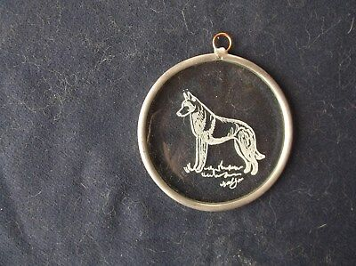 Belgian Sheepdog- Hand engraved Beveled Glass Ornament  by Ingrid Jonsson