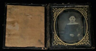 Vintage Mid-1800's 1/6th Plate Daguerreotype Seated Young Woman/Full Wood Case