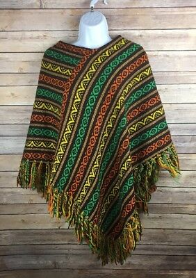Vintage Hand Knit Poncho Shawl Made In Italy, Poly Cotton Blend Very Nice Condit