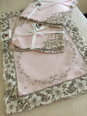 VTG MADEIRA IRISH LINEN HAND EMBROIDERED  PLACEMAT NAPKIN SET 16 Pc! NEW!