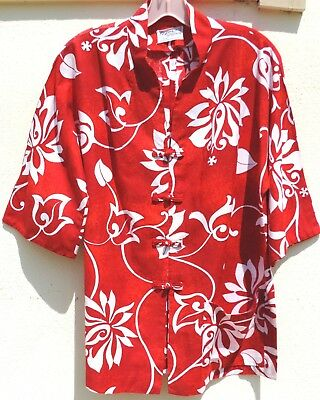 VTG 50s Traditional Tea Timer IOLANI Cotton Blouse Top KIYOMI of HAWAII Large