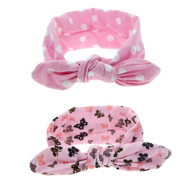 2Pcs Baby Girls Kids Bow Hairband Headband Stretch Turban Knot Head Wrap