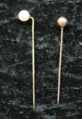 Two Gold Stick Pins - Old: 9Ct & 999 Hallmarks