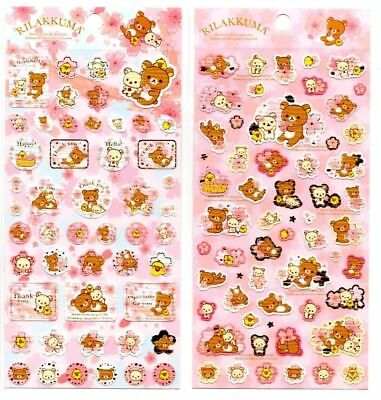 San-x Rilakkuma Sakura Blossom Seal Stickers Sticker Sheet LOT Kawaii Japan