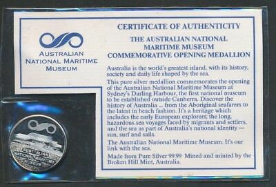 Australia: 1991 Opening of National Maritime Museum/ John West 28mm Silver Medal