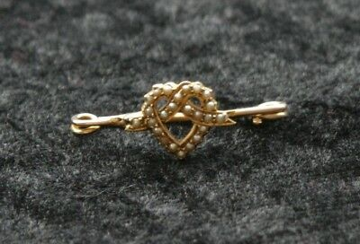 9Ct Gold/ 24 Seed Or Split Pearl Heart Brooch - Exquisite