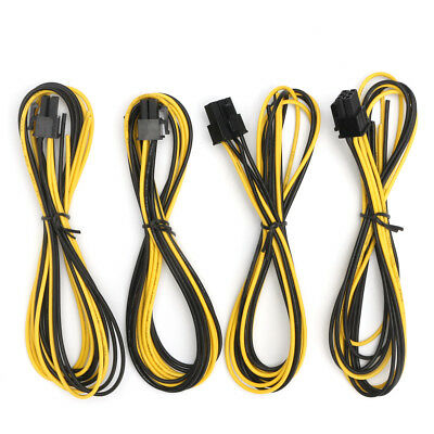 """4pcs 6-Pin PCI-e 18 AWG 23.6"""" Cable for Gigampz Adapter Bitcoin M"""