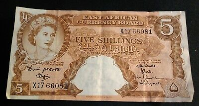 East African Currency Board  5 Shillings  ND (1958-60)