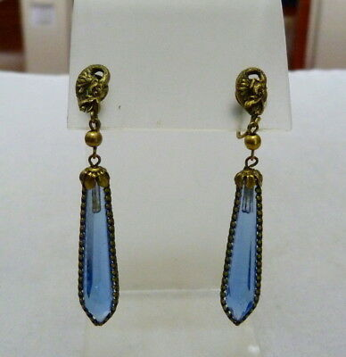 "2 5/8"" Long Antique Vtg Victorian Art Deco Dragon Blue Glass Crystal Earrings"