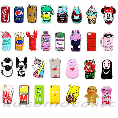 3D Cartoon Soft Silicone Phone Case Cover For iPhone 7/8 4.7'' & 7/8 Plus 5.5''