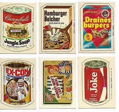 1979 Fleer Crazy Labels 6 Diff Stickers Like Topps Wacky Packages Knock-Off