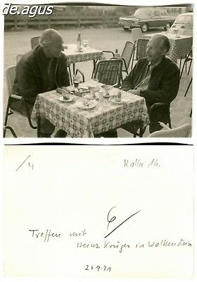 Vintage Photo from 1971 Wolkenstein, two men sitting at table, cars,fiat