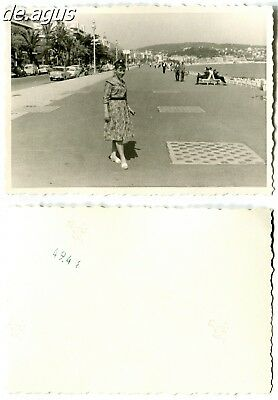 Vintage Photo circa 1960s young woman in nice dress,cars