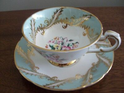 Paragon Tea Cup and Saucer By Appointment to the Queen Turquoise Green Floral