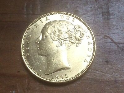 Great Britain 1853 Gold Sovereign Queen Victoria Young head type @ must see@