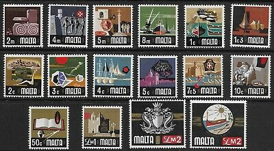 Malta - SG 486-500b - 1973-76 - Definitive Set of 16 - Unmounted Mint/MNH