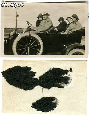 Vintage Photo circa 1930s People sitting on convertible classic car