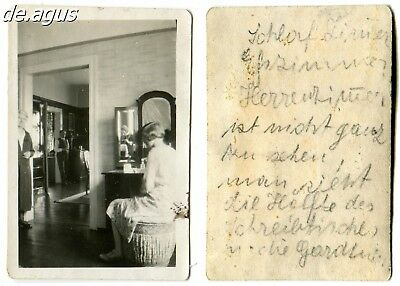 Vintage Photo circa 1940s People, girl,reflection of  woman taking the photo
