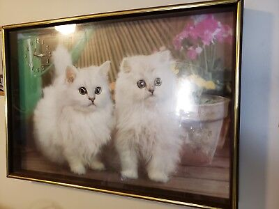 "20 x 24"" Shadow Box Picture Frame with clock/ Picture of two white cats"
