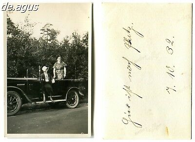 Vintage Photo from 1932 two women with convertible classic car
