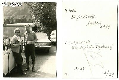 Vintage Photo from 1969 Bayrischzell,Couple,cars,opel car