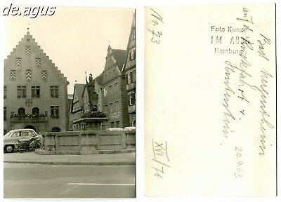 Vintage Photo from 1963 Marketplace-old Townhall,Bad Mergentheim,cars