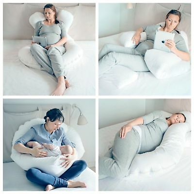 9 Ft Comfort U Pillow Full Body Maternity Pregnancy Support + Free Case