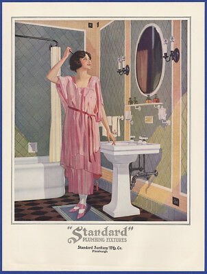 Vintage 1923 STANDARD PLUMBING FIXTURES Bathroom Art Decor Print Ad 20's
