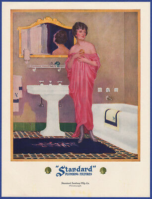 Vintage 1923 STANDARD PLUMBING FIXTURES Bathroom Decor Lady in Red Print Ad 20's