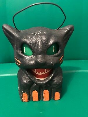 Paper Mache Halloween Black Cat on Fence Lantern Seasons Gone By Retro