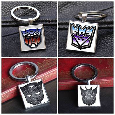 Transformers Autobots Decepticons Square Keychain Silver Keyring Pendants Gifts