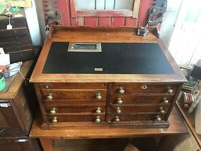 RARE Antique Oak 7 Drawer Cash Register Spool Cabinet