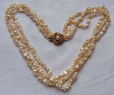 3 reihiges Collier Barock Perle Necklace Halskette Sommerkette Nr.194