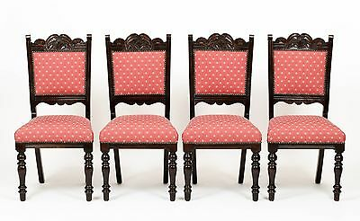Beautiful Arts and Crafts Set of 4 Mahogany Carved Dining Chairs Decor Furniture