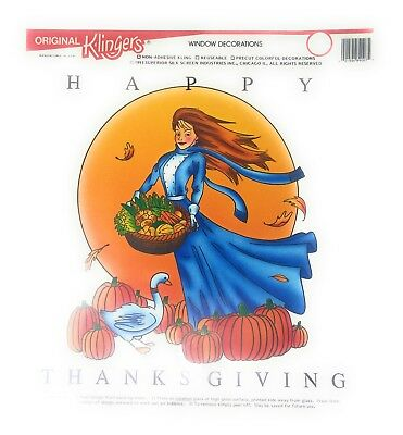 2 Happy Thanksgiving Reusable Window Cling Decorations