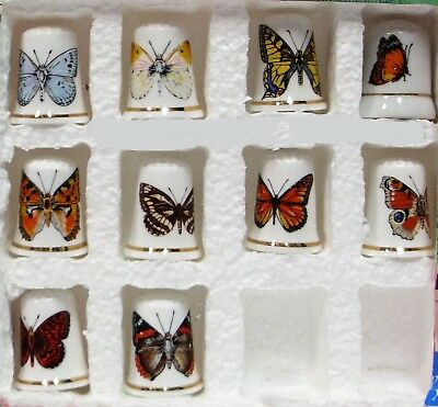 Collection of 10 Different Butterfly Thimbles-Bone China-NEW- Beautiful Lot!