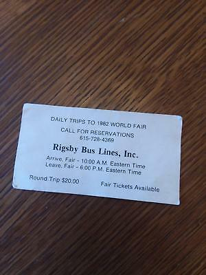 1982 World's Fair Bus Ticket from Winchester to Knoxville TN Tennessee Unused
