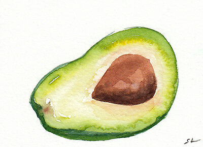 ACEO ORIGINAL Watercolor Painting of an avocado,miniart,illustration,kitchen art