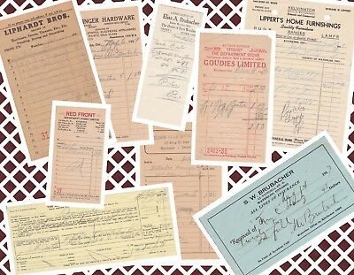 Vintage Collector Ephemeral Hardware, Home and General Need Receipts