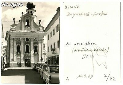Vintage Photo from 1969 Bayrischzell, Church-Architecture,lined up of cars