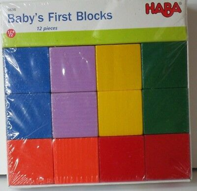 HABA Baby's First Blocks NEW Set of 12 Mint in Package 6 Different Colors