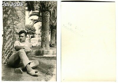 Vintage Photo circa 1960s handsome young man sitting , cars, fiat 600