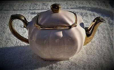 Exquisite Pink & Gold China Teapot, Possibly Sadler