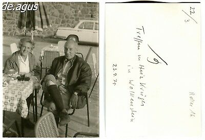 Vintage Photo from 1971 Wolkenstein,couple sitting at table, car