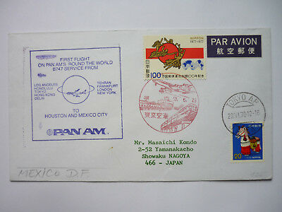 PAN AMERICAN, ROUND the WORLD Tokyo - Mexiko City First Flight Air Mail 1978